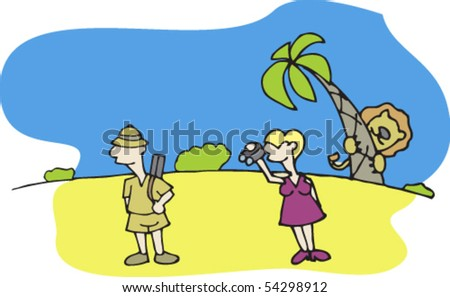 couple on safari in Africa. Man hunts. Woman looking through binoculars. Lion hiding behind a palm tree. Painted parts are easily changed or removed - stock vector