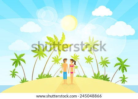 couple on summer vacation holiday tropical ocean island with palm tree flat vector illustration - stock vector