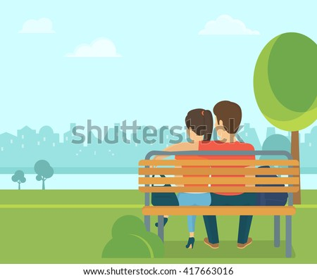 Couple outdoors in the park sitting on the bench and looking at the city. Flat romantic illustration of young people leisure time spending in the park in spring season - stock vector