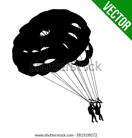 Couple parasailing silhouette on white background, vector illustration - stock vector