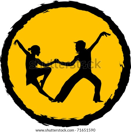 couple participates in competitions in sport dancing (vector); - stock vector