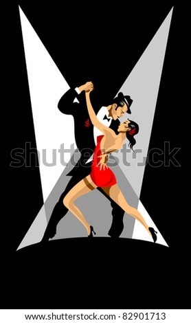 couple participates in competitions in tango in the dark (vector) - stock vector