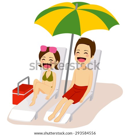Couple relaxing sunbathing lying on lounge chair under beach umbrella - stock vector