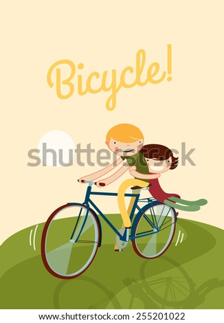 couple riding bike. cute characters on a bicycle template. vector illustration - stock vector