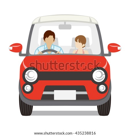 Couple riding the Red car ,Front view - Isolated - stock vector