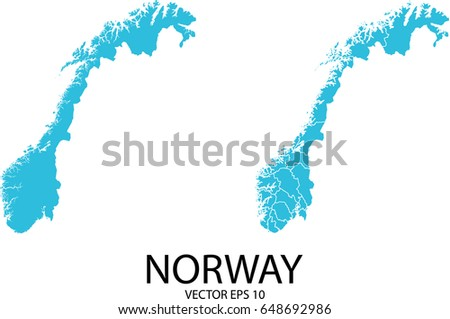 Vector Mapnorway Country Stock Vector Shutterstock - Norway map eps
