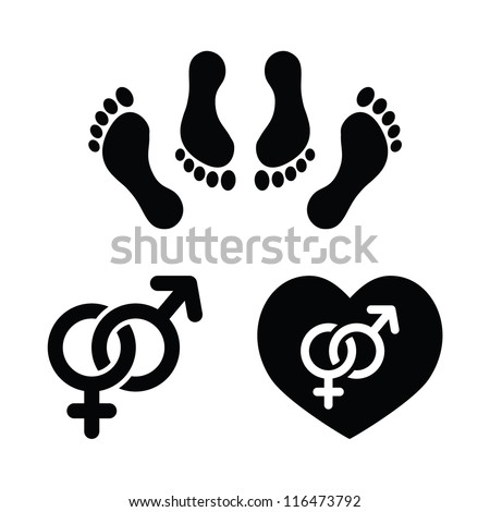 Couple sex, making love icons set - stock vector
