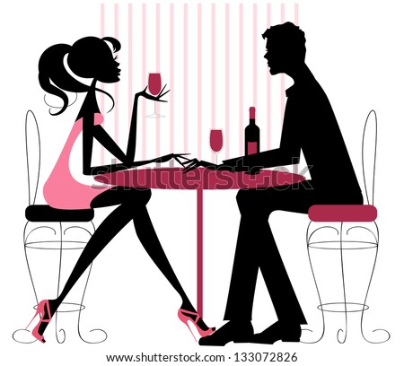 Couple Sharing Romantic Dinner Silhouette in pinks and black -Romantic couple sitting in restaurant - sharing a bottle of wine. Valentine, engagement, or just a date. - stock vector
