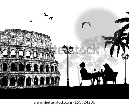 Couple silhouette in cafe in front of Colosseum in Rome , vector illustration - stock vector