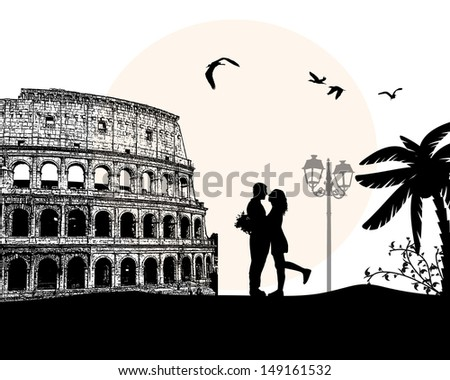 Couple silhouette in love in front of Colosseum in Rome , vector illustration - stock vector