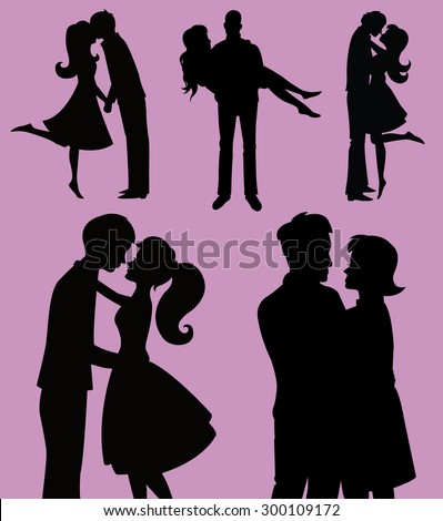Couple Silhouette Vector Set - stock vector