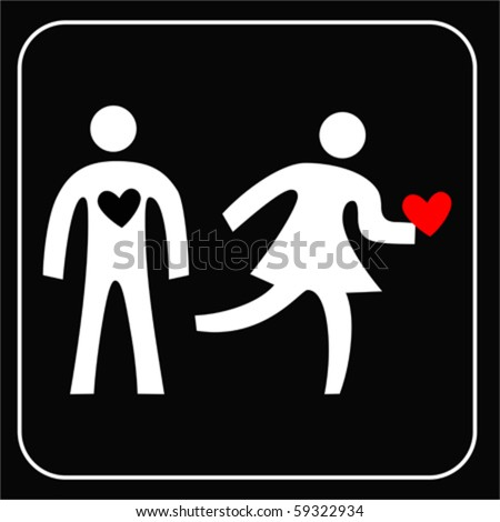 couple silhouette with broken heart on white background VECTOR - stock vector