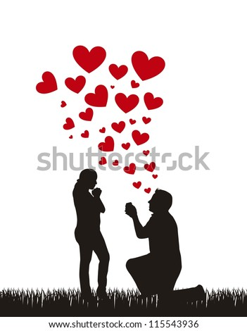 couple silhouette with hearts, proposal wedding. vector - stock vector