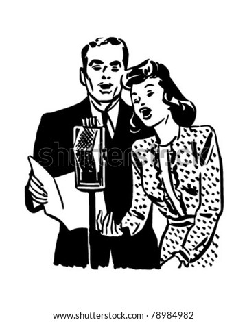 Couple Singing Into Microphone - Retro Clipart Illustration