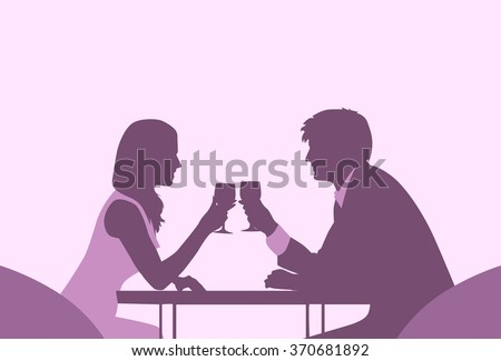 Couple Sitting Cafe Table Romantic Love Violet Color Silhouettes Dating Vector Illustration - stock vector