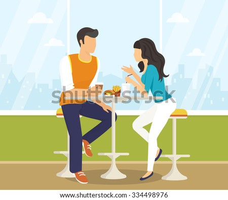 Couple sitting in the cafe, flirting and talking about something. Flat modern illustration of students using laptop - stock vector