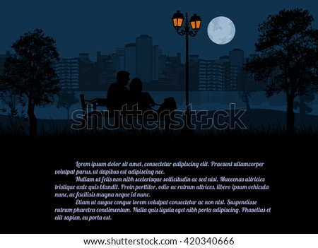 Couple sitting on a bench in the city park at night. Romantic date concept with space for your text, vector illustration - stock vector