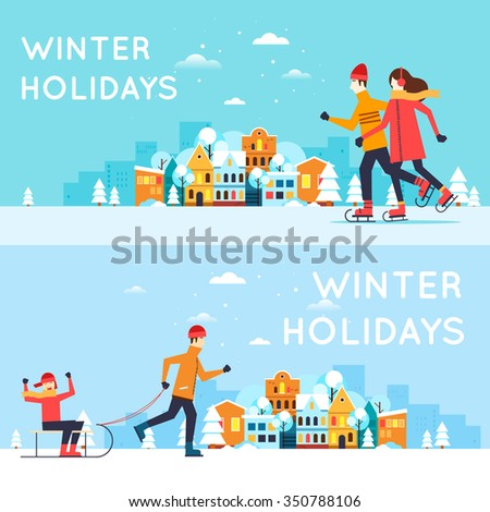 Couple skates, a man sledding child. Winter cityscape, winter fun, winter vacation, winter sports, outdoors. New year. Flat design vector illustration. - stock vector