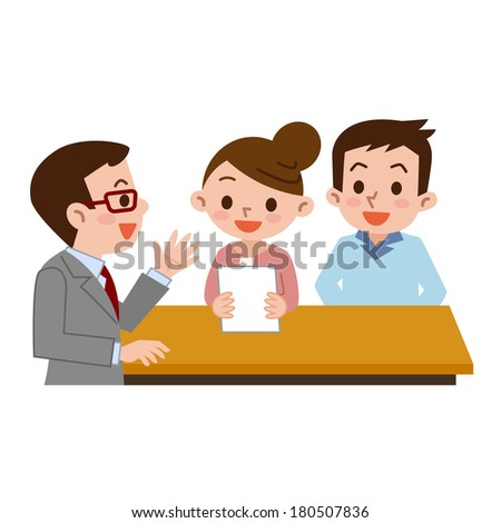 Couple submit documents - stock vector