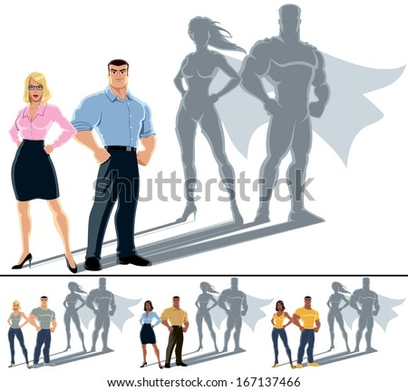 Couple Superhero Concept: Conceptual illustration of ordinary couple with superhero shadow. The illustration is in 4 versions. No transparency and gradients used.  - stock vector