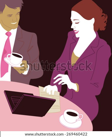 Couple talking and using laptop at cafe - stock vector