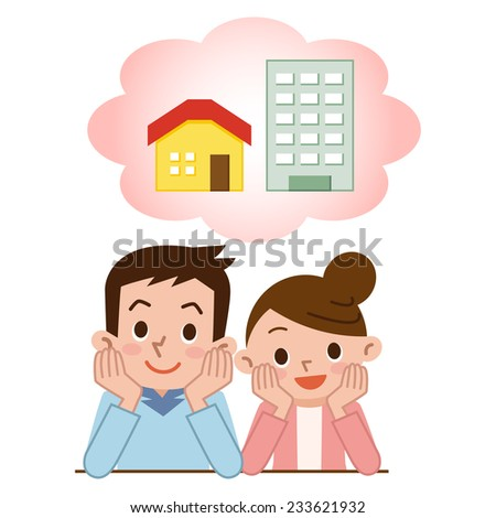 Couple to consider the purchase of My Home - stock vector