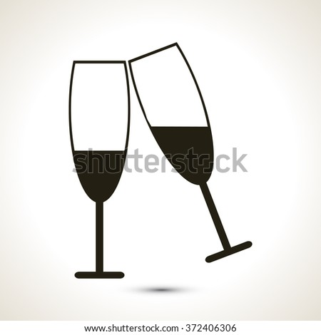 Couple Toasting Silhouette icon - stock vector