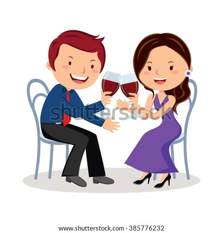 Couple toasting with red wine. Vector illustration of lovely couple toast with red wine. - stock vector