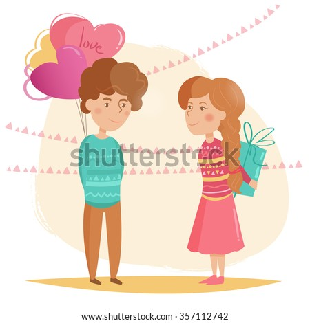 Couple. Valentine's day. Vector isolated illustration. Cartoon character - stock vector