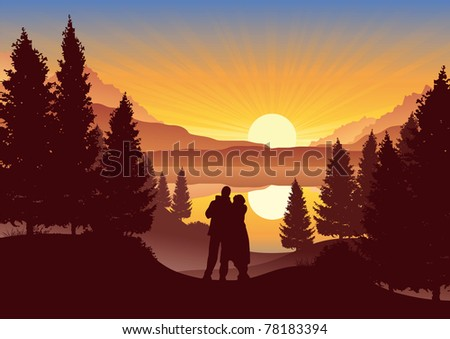 couple watching the sunset in a beautiful landscape - stock vector