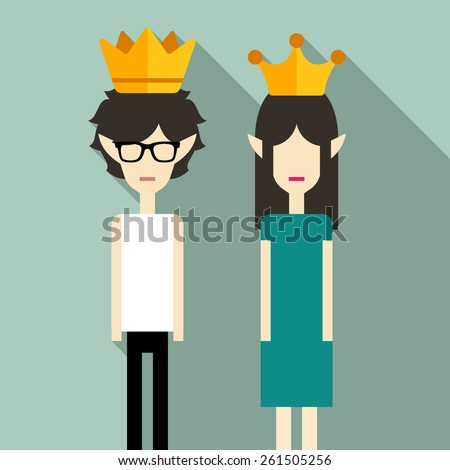 Couple wearing crowns - stock vector