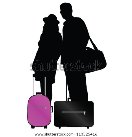 couple with bags to travel vector illustration on a white background - stock vector