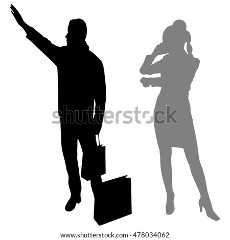 couple with shopping bags calling a Cab