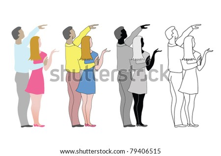 Couple, young adults, family standing embraced and pointing at what you want them to point. Design elements.