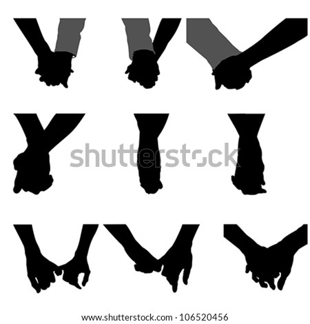 couples holding hands, vector - stock vector