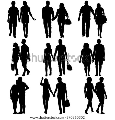 Couples man and woman silhouettes on a white background. Vector illustration.