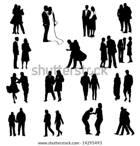 couples silhouettes - collection of vector illustrations - stock vector