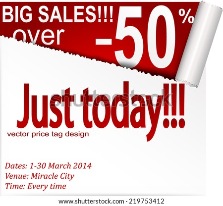 Coupon banner with torn edge. Vector eps 10 - stock vector