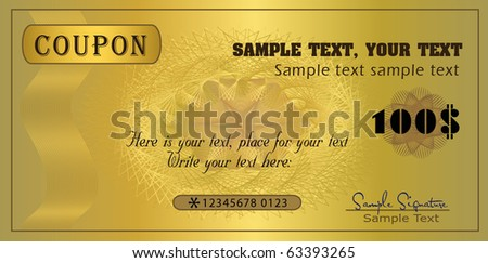 Coupon gold, template vector certificate - stock vector