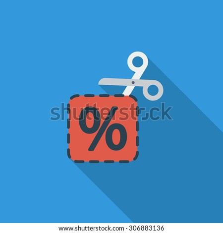 Coupon icon. Flat vector related icon with long shadow for web and mobile applications. It can be used as - logo, pictogram, icon, infographic element. Vector Illustration. - stock vector
