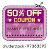 Coupon sale - 50%. (fifty percent discount, discount label) - stock vector
