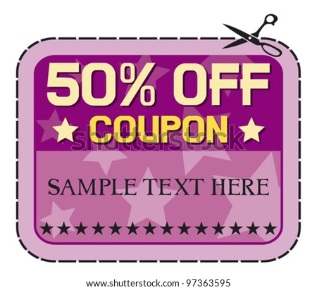 Coupon sale - fifty percent discount label