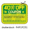Coupon sale - forty percent discount label - stock vector