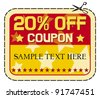 Coupon sale 20%. (twelve percent discount, discount label) - stock vector