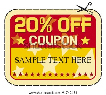 Coupon sale 20%. (twelve percent discount, discount label) - stock vector