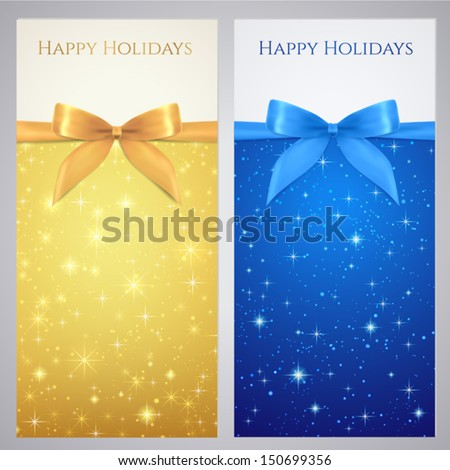 Coupon, Voucher, Gift certificate, gift card template with bow (ribbons, present) with sparkling, twinkling stars. Night background design for invitation, banner, ticket. Vector in gold, blue color - stock vector