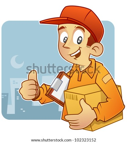 courier carrying carton box and clipboard, ready to deliver. - stock vector