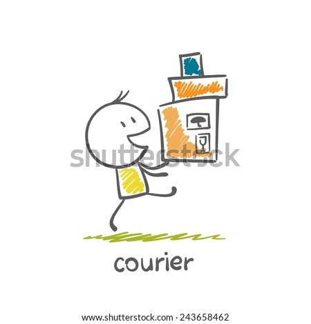Courier is sending illustration - stock vector