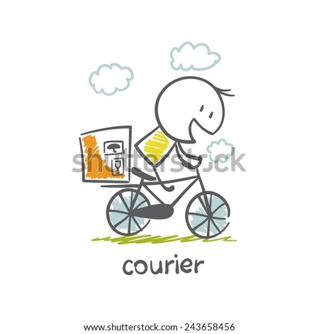 courier parcel carries a bike illustration - stock vector