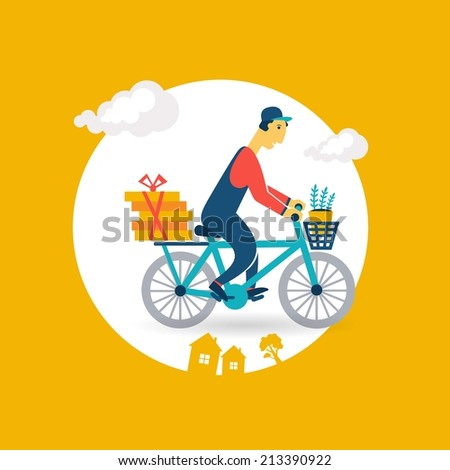 courier rides a bicycle icon - stock vector